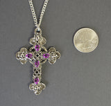 Gothic Filigree Cross with Purple Stones Medieval Renaissance Pewter Pendant Necklace NK-379P