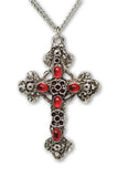 Gothic Filigree Cross with Red Stones Medieval Renaissance Pewter Pendant Necklace NK-379R