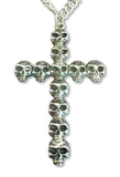 Gothic Multi Skull Cross Extra Large Silver Pendant Necklace NK-388LC
