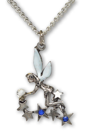 Pixie In Stars Holding Crystal Ball with Sparkle Wings Pendant Necklace NK-390