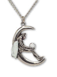 Pixie in Quarter Moon Holding Clear Crystal Ball Pendant Necklace NK-391
