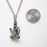 Urban Skeleton Just Cruising on Skateboard Silver Finish Pewter Pendant Necklace NK-3