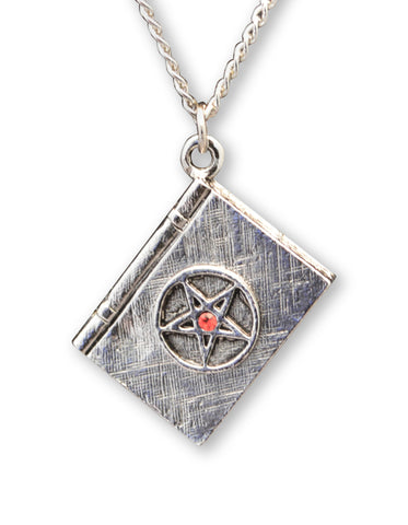 Wizard Book of Magic with Pentacle and Red Crystal Pendant Necklace NK-400