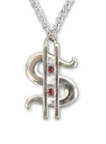 Big Bucks Dollar Sign Polished Silver Extra Large Pewter Pendant Necklace NK-408SLC