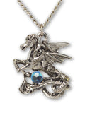 Mystical Pegasus with Blue Crystal Ball Pendant Necklace NK-420