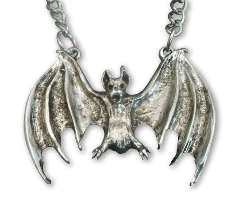 Flying Bat with Wings Extra Large Silver Pendant Necklace NK-436LC