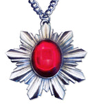 Renaissance Medallion Silver with Red Cabochon Extra Large Pendant Necklace NK-440SLC