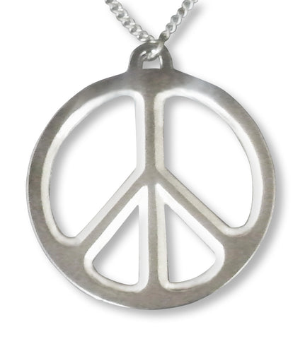 Large Peace Sign Polished Silver Pewter Pendant Necklace NK-447