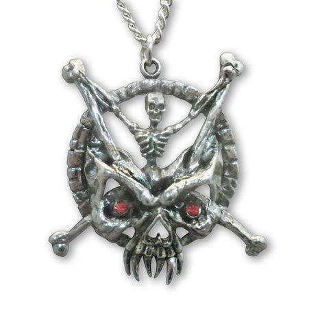 Gothic Skeleton with Crossbones and Demon Mask Pewter Pendant Necklace NK-449