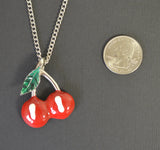 Retro Red Cherries and Green Leaf Pewter Pendant Necklace NK-450