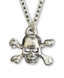 Skull and Crossbones Silver Finish Pewter Pendant Necklace NK-453