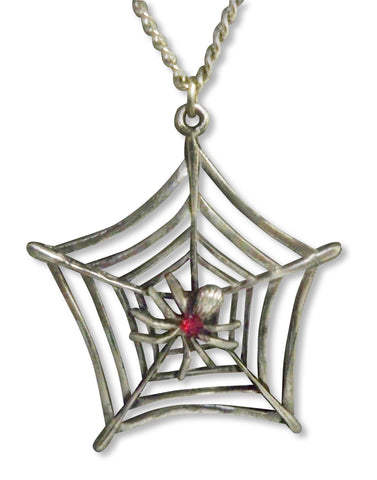 Spider in Web with Red Austrian Crystal Pendant Necklace (medium) NK-469