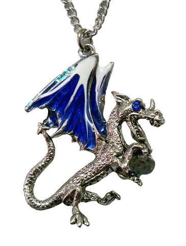 Blue Dragon Holding Faceted Crystal Medieval Renaissance Pendant Necklace NK-470