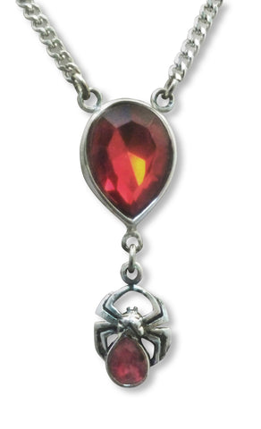 Red Teardrop Crystal with Spider Silver Pewter Pendant Necklace NK-475