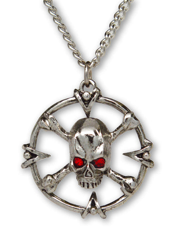 Gothic Skull and Crossbones with Red Austrian Crystals Pendant Necklace NK-478