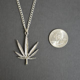 Marijuana Pot Leaf Antique Silver Pewter Pendant Necklace NK-48