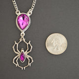 Gothic Purple Stone with Hanging Spider Pewter Pendant Necklace NK-496P