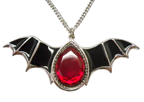 Black Bat Wings with Blood Red Stone Pewter Pendant Necklace NK-500