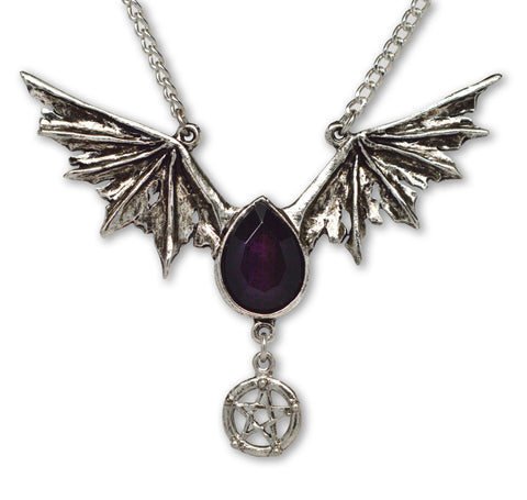 Gothic Bat Wings with Black Drop and Pentacle Pendant Necklace NK-501B