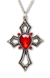 Gothic Cross with Red Crystals Medieval Renaissance Pendant Necklace NK-518