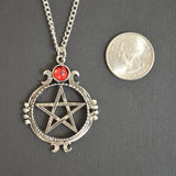 Gothic Pentacle with Red Cabochon Medieval Renaissance Pendant Necklace NK-528
