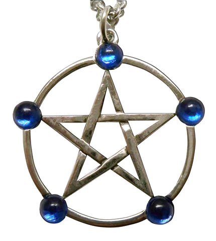 Gothic Pentacle with Blue Cabochons Medieval Renaissance Pendant Necklace NK-530