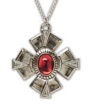 Gothic Medallion Cross Medieval Renaissance Pewter Pendant Necklace NK-531