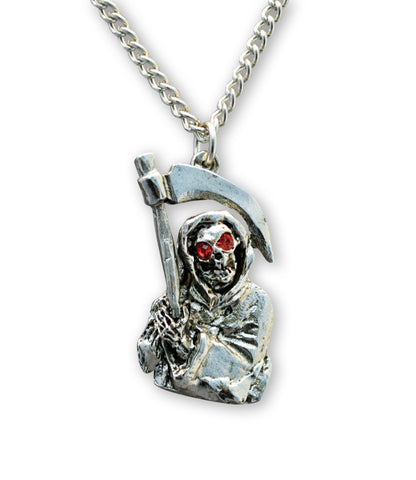 Grim Reaper with Red Crystal Eyes Pendant Necklace NK-541