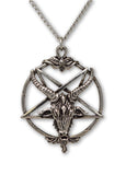 Gothic Baphomet Pentacle Silver Finish Goat Head Pendant Necklace NK-546