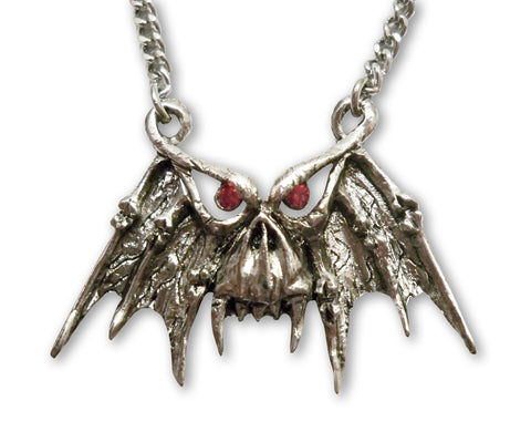 Gothic Demon Skull with Red Stones Pewter Pendant Necklace NK-548