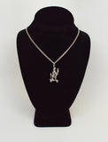 Urban Skeleton Cruising on Skateboard Peace Sign Silver Pewter Pendant Necklace NK-55
