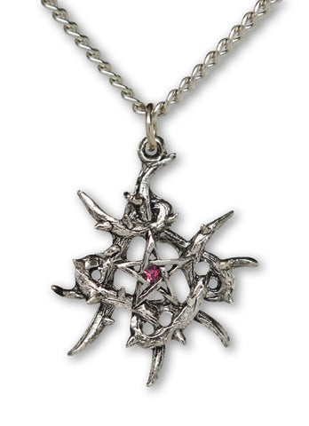 Gothic Pentacle with Purple Crystal Set in Vines Pendant Necklace NK-563