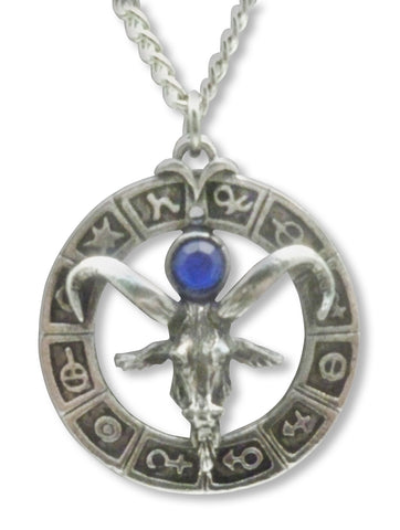 Goat Head in Zodiac Circle Silver Pewter Pendant Necklace NK-564