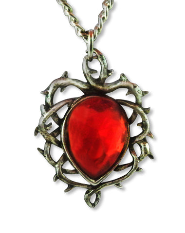 Red Crystal Set in Thorns Silver Pewter Pendant Necklace NK-565