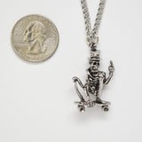 Urban Skeleton with Gesture on Skateboard Silver Pewter Pendant Necklace NK-56