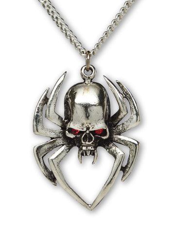 Gothic Spider Skull Head with Red Austrian Crystals Pewter Pendant Necklace NK-572
