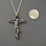 Skeleton on Black Cross Pewter Pendant Necklace NK-579