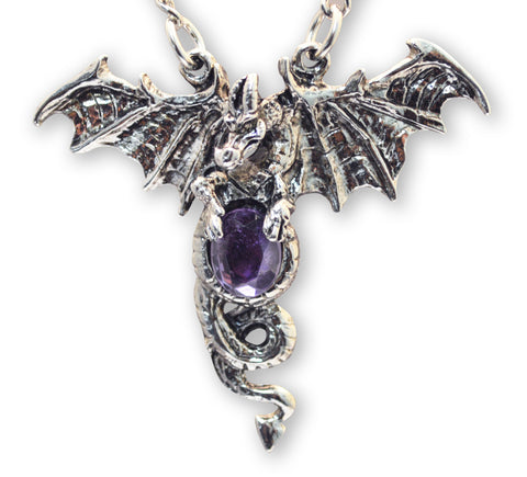 Dragon with Purple Cabochon Medieval Renaissance Pendant Necklace NK-588P