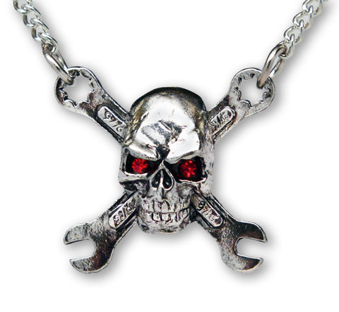 Rat Rod Motor Head Skull on Crossed Wrenches Pendant Necklace NK-590