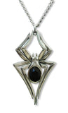Gothic Spider with Black Crystal Body Silver Pewter Pendant Necklace NK-591B
