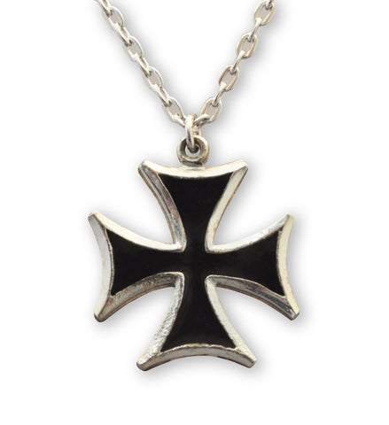 Maltese Cross Surfers Cross Black Enamel on Silver Pewter Medium Pendant Necklace NK-5