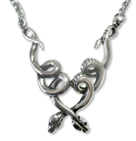 Coiled Snakes Silver Pewter Pendant Necklace NK-602