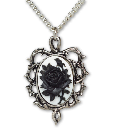 Gothic Black Rose Cameo Surrounded by Thorns Pendant Necklace NK-604BW