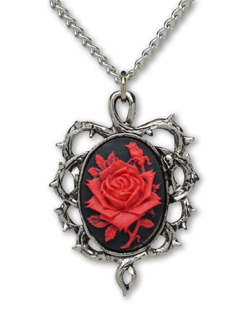 Gothic Red Rose Cameo Surrounded by Thorns Pendant Necklace NK-604RB