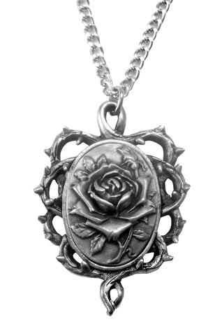 Gothic Rose in Thorns Pendant Necklace in Silver Pewter NK-607