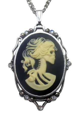 Gothic Lolita Cameo Ivory on Black with Crystals Pewter Pendant Necklace NK-610