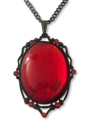 Vampire Blood Red Cabochon Pendant Necklace in Black Frame NK-614