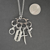 Weapons Dangle on Brass Knuckles Silver Pewter Pendant Necklace NK-615