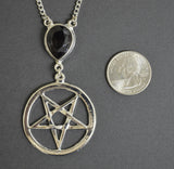 Inverted Pentacle with Black Crystal Medieval Renaissance Pendant Necklace NK-616