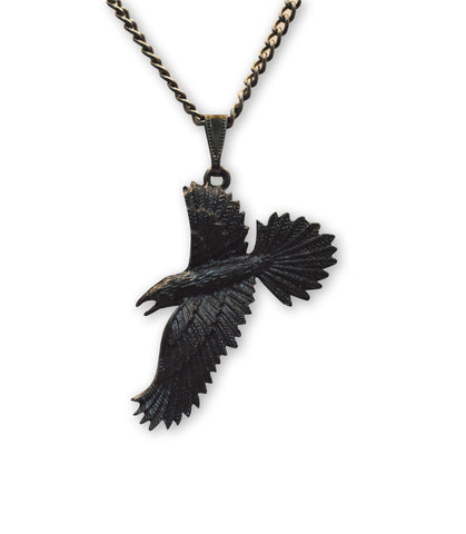 Black Raven Black Crow Gothic Pewter Pendant Necklace NK-617
